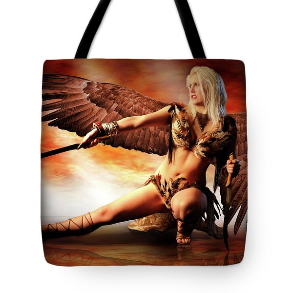 Swords Of The Hawk Woman Tote Bag