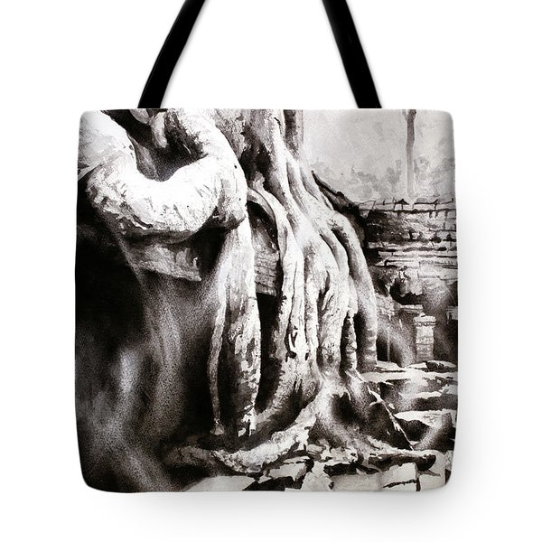 Tote Bag featuring the painting Sycamore Tree Overgrowing Ruins- Cambodia by Ryan Fox