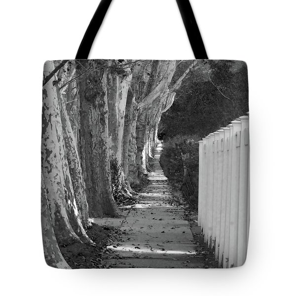 Sycamore Walk-grayscale Version Tote Bag