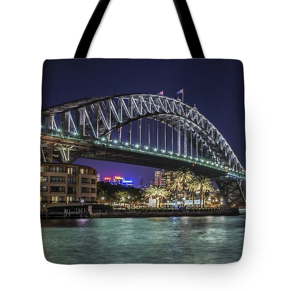 Tote Bag featuring the photograph Sydney Harbor Bridge At Night by Ray Warren