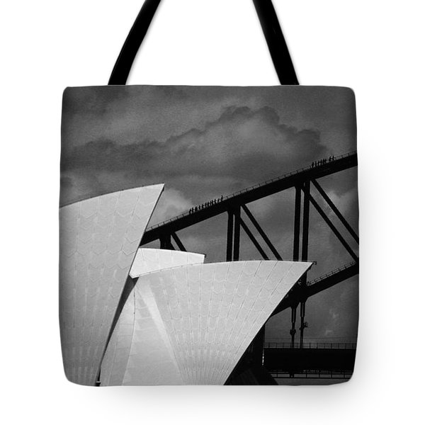 Sydney Opera House With Harbour Bridge Tote Bag by Avalon Fine Art Photography