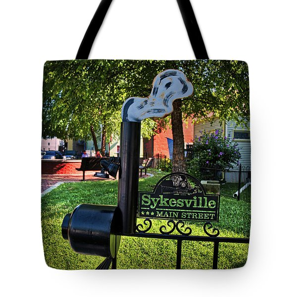 Tote Bag featuring the photograph Sykesville Main St Sign by Mark Dodd