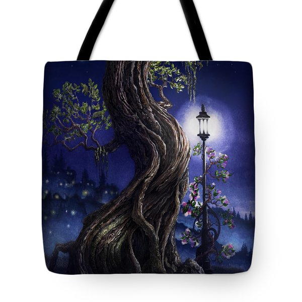 Tote Bag featuring the painting Sylvia And Her Lamp At Dusk by Curtiss Shaffer