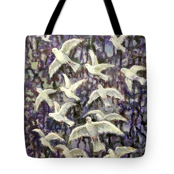 Tote Bag featuring the painting Symbol  Of Peace by Laila Awad Jamaleldin