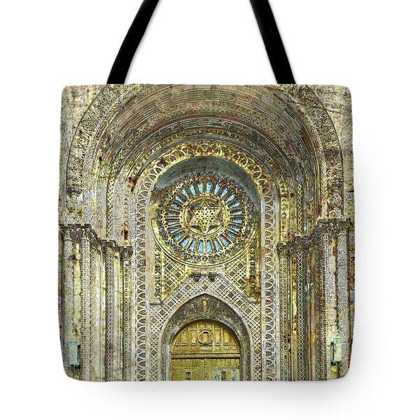 Tote Bag featuring the mixed media Synagogue by Tony Rubino
