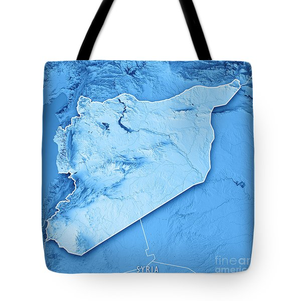 Syria Country 3d Render Topographic Map Blue Border Tote Bag