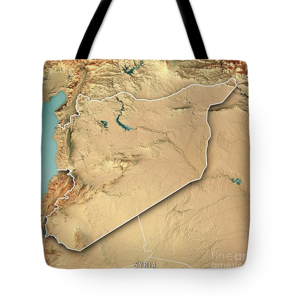 Syria Country 3d Render Topographic Map Border Tote Bag