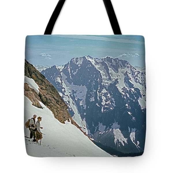 T-04402 Fred Beckey And Joe Hieb After First Ascent Forbidden Peak Tote Bag