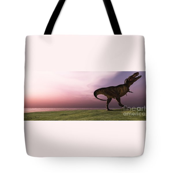 T-rex At Sunrise Tote Bag by Corey Ford