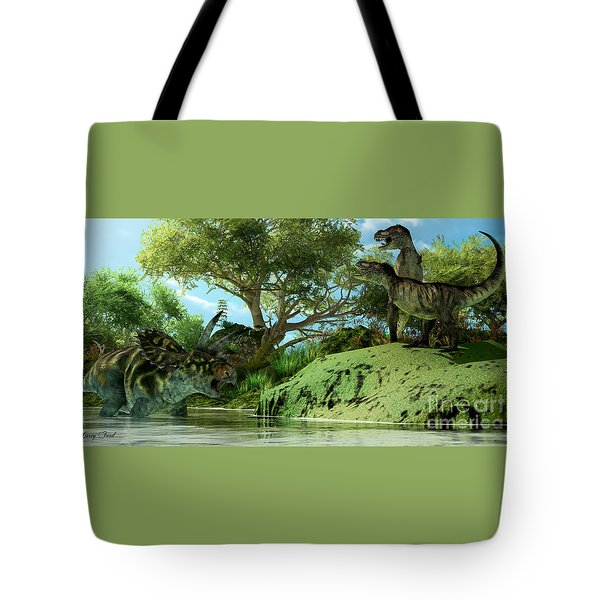 T-rex Defiance Tote Bag by Corey Ford