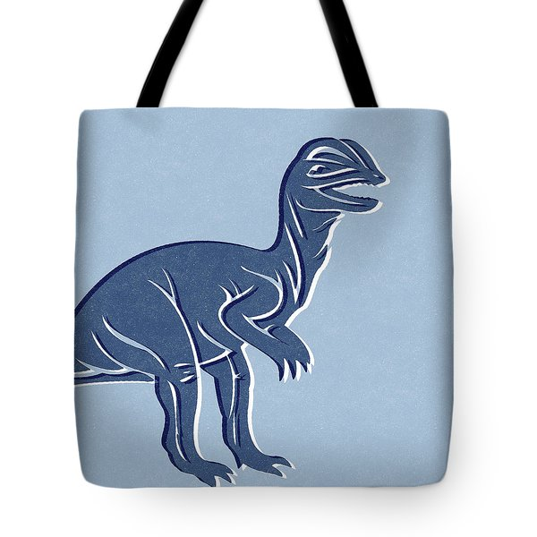 T-rex In Blue Tote Bag by Linda Woods