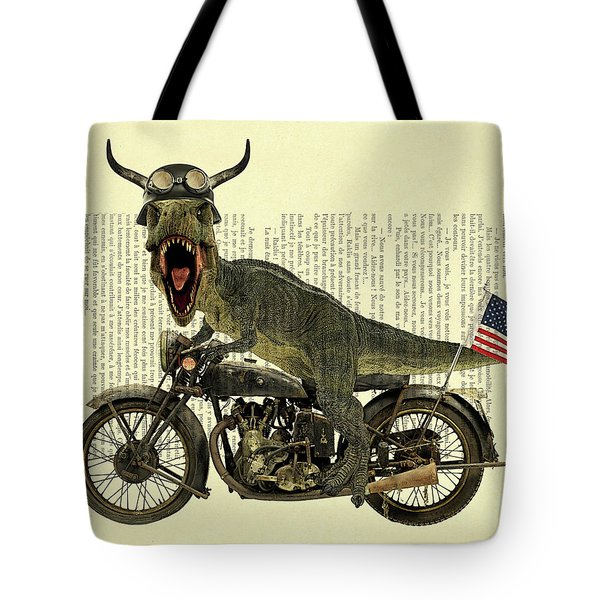 T Rex Riding His Harley, Dictionary Print Tote Bag