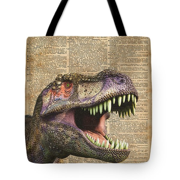 T-rex,tyrannosaurus,dinosaur Vintage Dictionary Art Tote Bag by Jacob Kuch