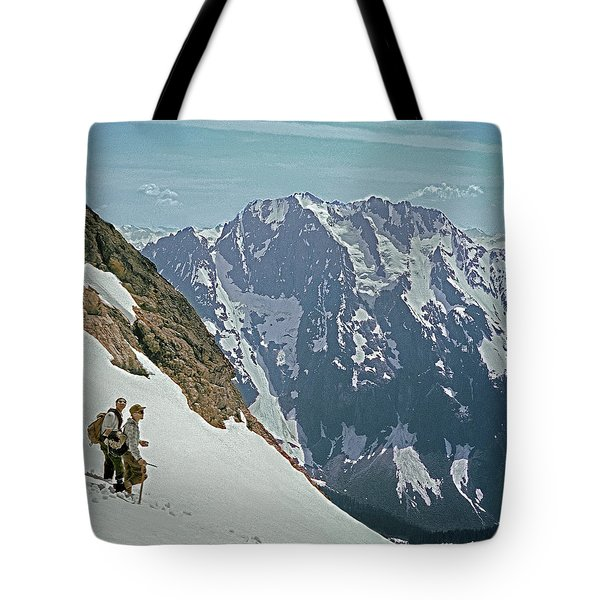 T04402 Beckey And Hieb After Forbidden Peak 1st Ascent Tote Bag