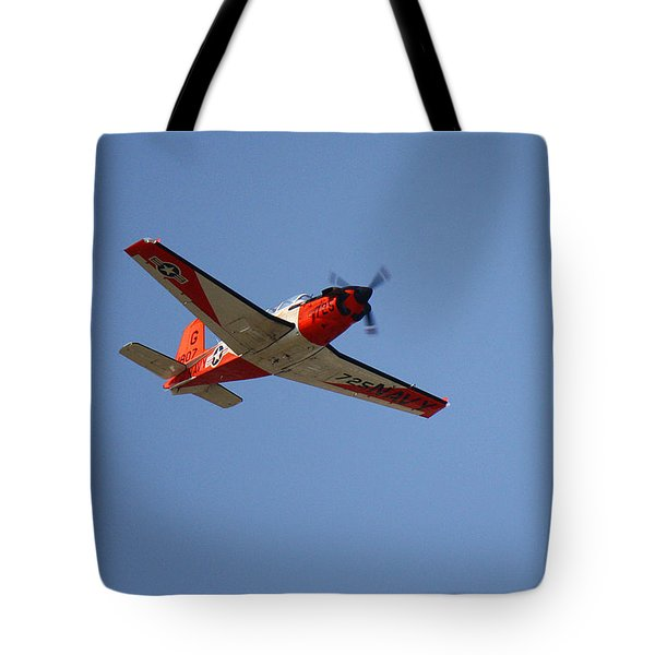 T34 Mentor Trainer Flying Tote Bag