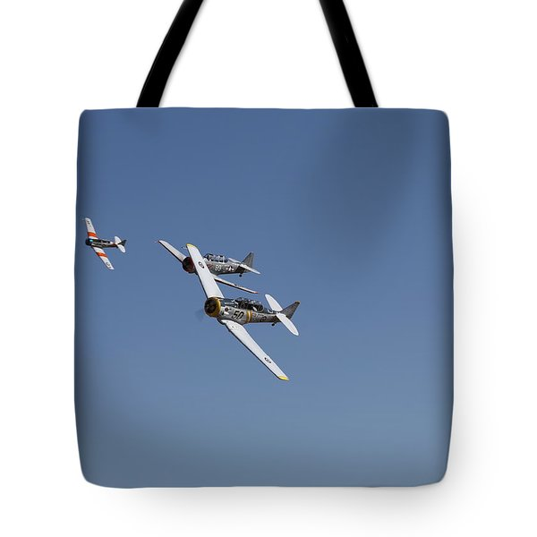 Tote Bag featuring the photograph T6 Frenzy Over The Reno Desert by John King