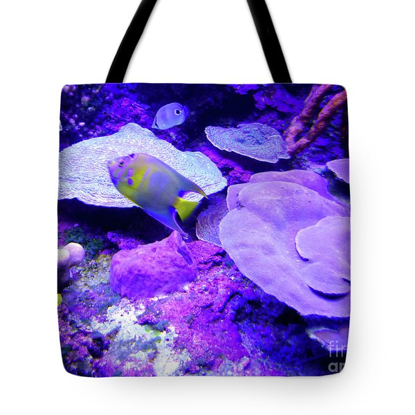 Tote Bag featuring the photograph Ta Purple Coral And Fish by Francesca Mackenney