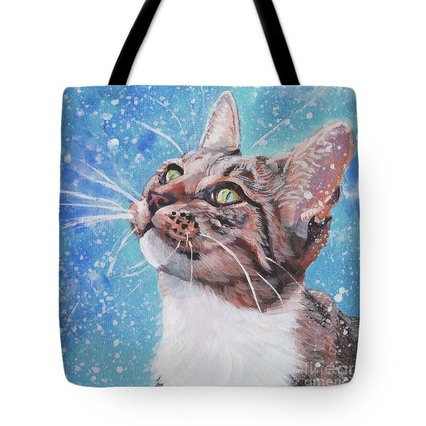 Tote Bag featuring the painting Tabby Cat In The Winter by Lee Ann Shepard