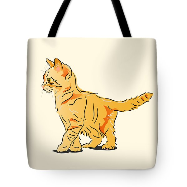 Tote Bag featuring the digital art Tabby Kitten by MM Anderson
