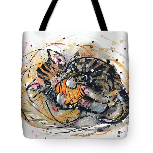 Tote Bag featuring the painting Tabby Kitten Playing With Yarn Clew  by Zaira Dzhaubaeva