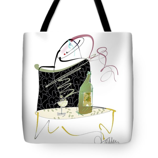 Tote Bag featuring the mixed media Table For One by Larry Talley