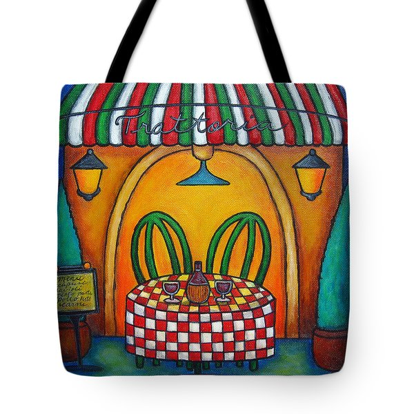 Table For Two At The Trattoria Tote Bag by Lisa  Lorenz