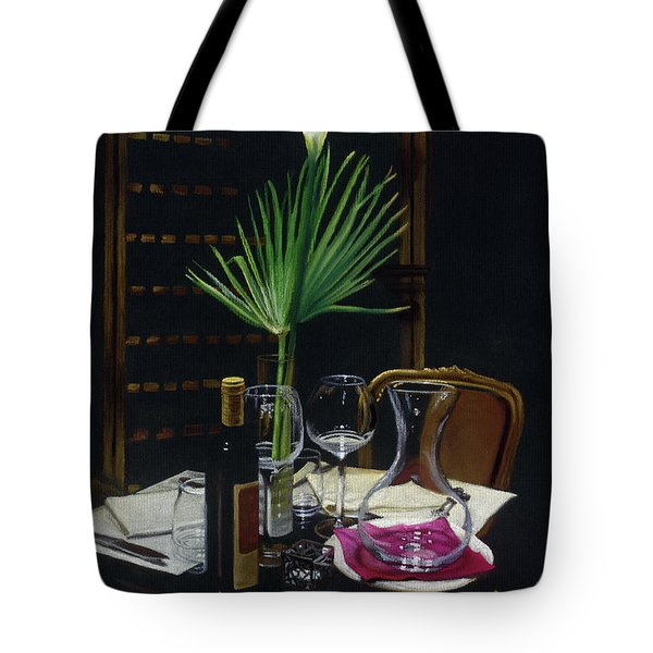 Table For Two A Night's Promise Tote Bag by Kelly Borsheim