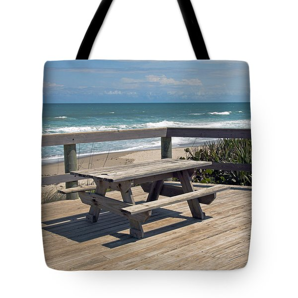 Table For You In Melbourne Beach Florida Tote Bag by Allan  Hughes
