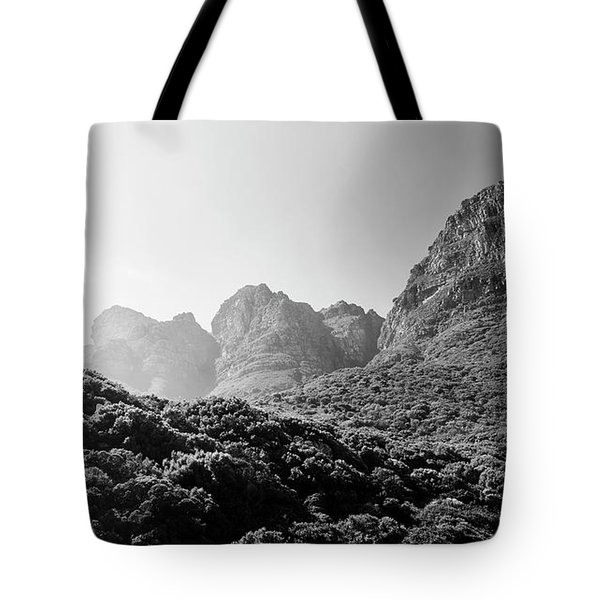 Tote Bag featuring the photograph Table Mountain National Park Black And White by Tim Hester