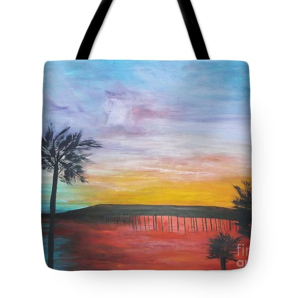 Table On The Beach From The Water Series Tote Bag