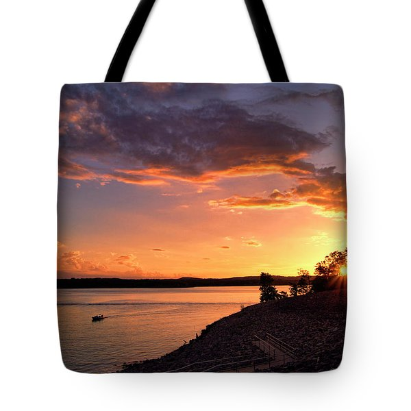 Tote Bag featuring the photograph Table Rock Sunset by Cricket Hackmann