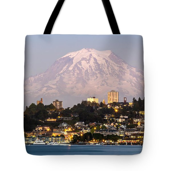 Tacoma And It's Gaurdian Mt Rainier Tote Bag