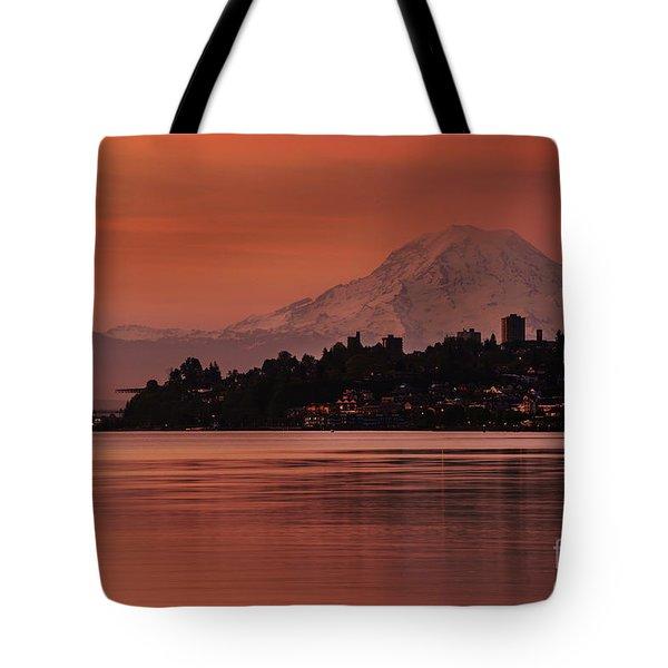 Tacoma Bay Mount Rainier Sunrise Tote Bag
