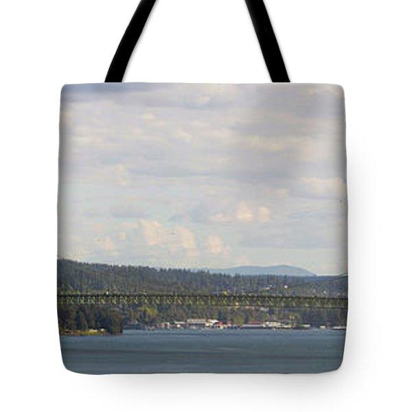 Tacoma Narrows Bridge Panorama Tote Bag