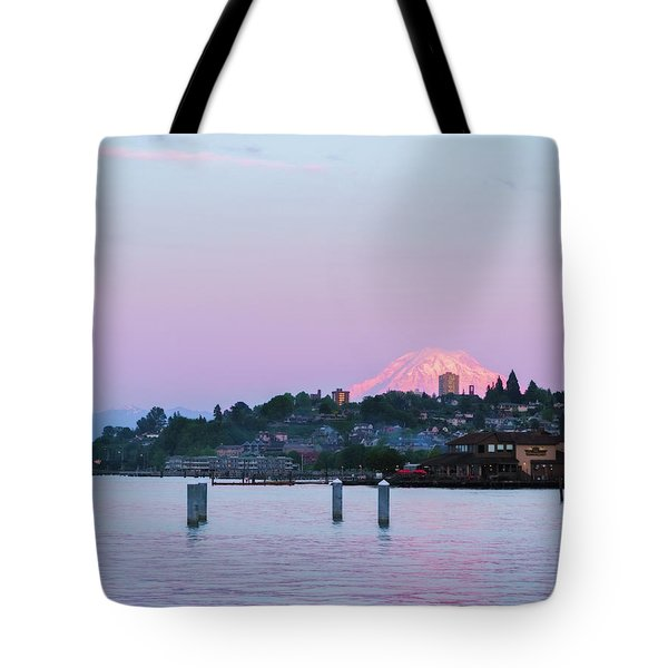 Tacoma Sunset Tote Bag by Ken Stanback