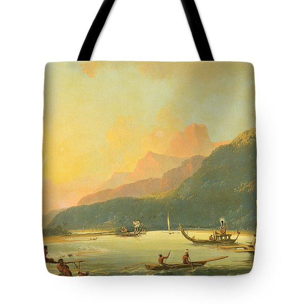 Tahitian War Galleys In Matavai Bay - Tahiti Tote Bag by William Hodges