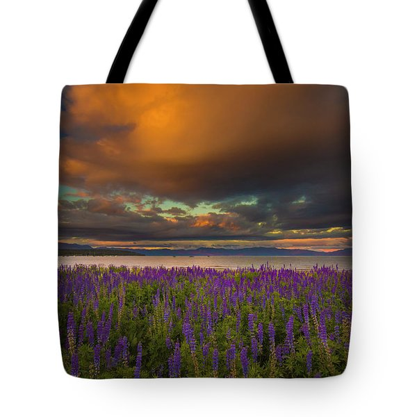 Tahoe City Lupine Sunset Tote Bag