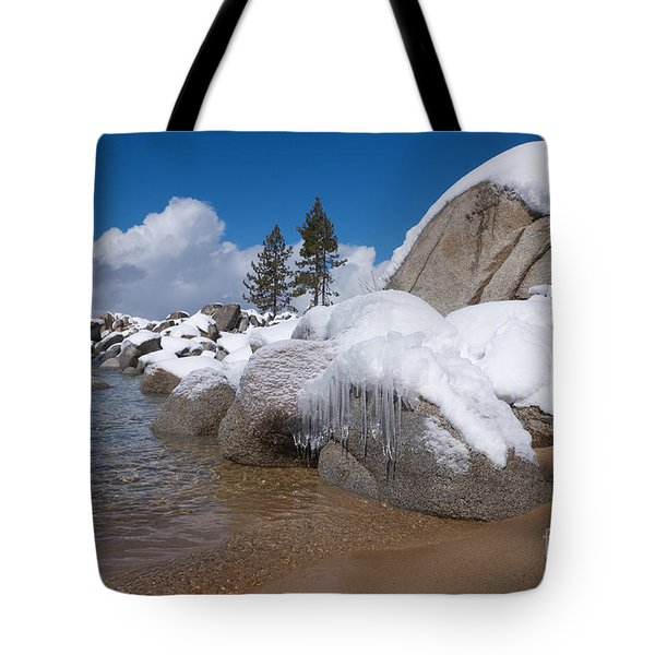 Tahoe Icicles Tote Bag by Vinnie Oakes