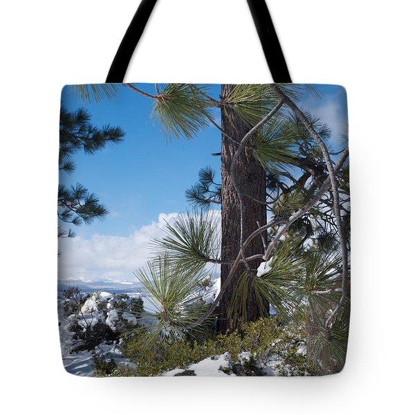 Tahoe Pines In Winter Tote Bag