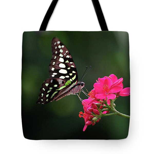 Tailed Jay Butterfly -graphium Agamemnon- On Pink Flower Tote Bag