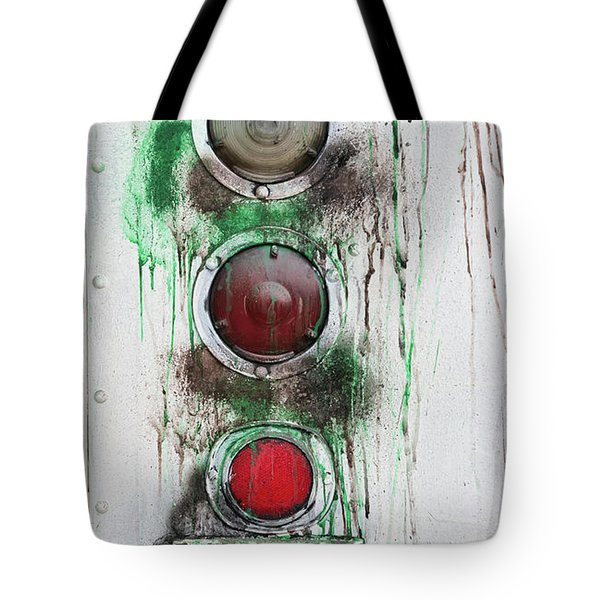 Tote Bag featuring the photograph Taillights On A Very Old Bus by Gary Slawsky