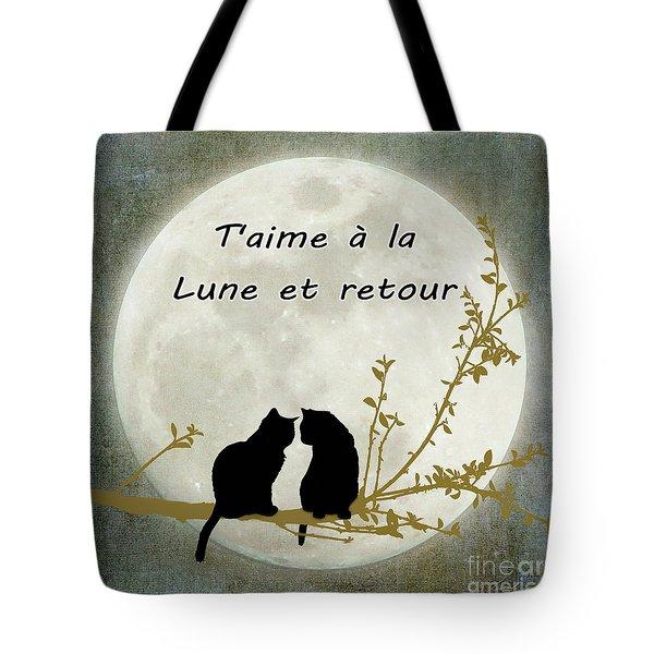 Tote Bag featuring the digital art T'aime A La Lune Et Retour by Linda Lees