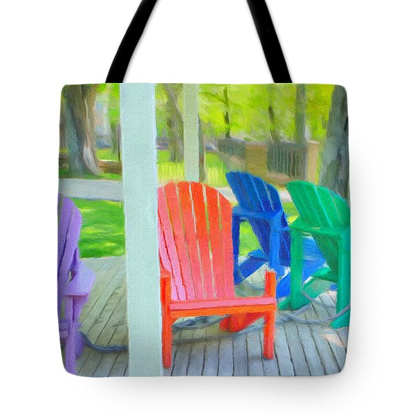 Tote Bag featuring the painting Take A Seat But Don't Take A Chair by Jeffrey Kolker