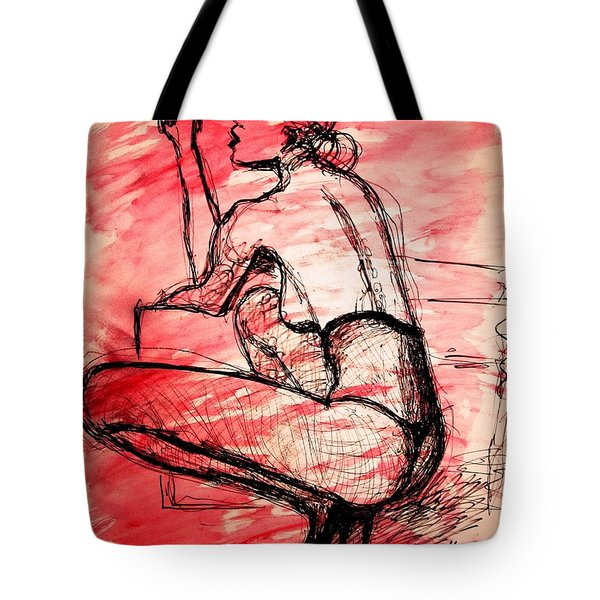 Tote Bag featuring the painting Take Five  by Jarko Aka Lui Grande