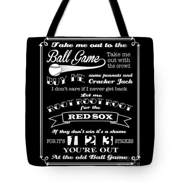 Tote Bag featuring the digital art Take Me Out To The Ball Game - Red Sox by Ginny Gaura