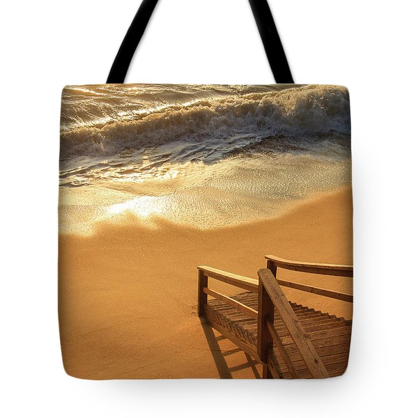 Take The Stairs To The Waves Tote Bag by Joni Eskridge
