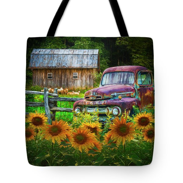 Take Us For A Ride In The Sunflower Patch Oil Painting Tote Bag