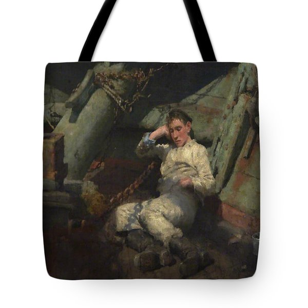 Tote Bag featuring the painting Taking A Spell  by Henry Scott Tuke