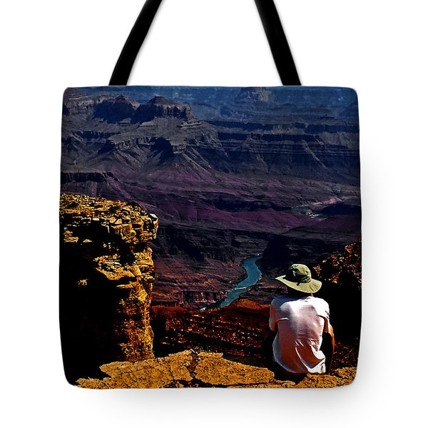 Tote Bag featuring the photograph Taking In The View - Grand Canyon South Rim by George Bostian
