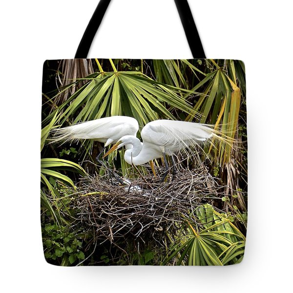 Taking Care Of Two Fuzzy Headed Babies Tote Bag by Carol Bradley